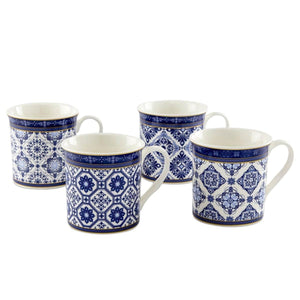 Moroccan Mug Set Of 4-Assorted Blue 280 ML