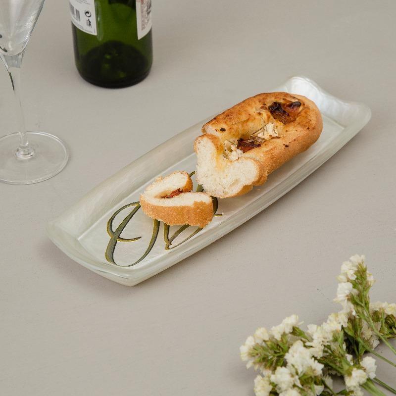 Baguette White & Gold Serving Plate
