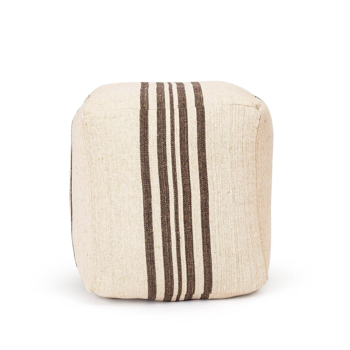 Ligne Stripe Pouffe Ivory & Brown Color