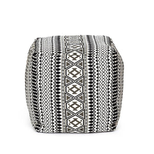 Zentangled Pouffe Black & White Color