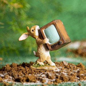 Lapin With Television Brown Mini Object