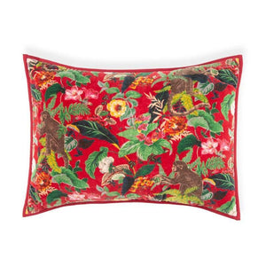 Crewel 18 In X 24 In Red Cushion Covers