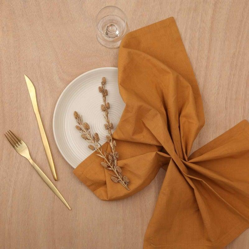 Kati 20 In X 20 In Solid Mustard Napkin Set Of 4