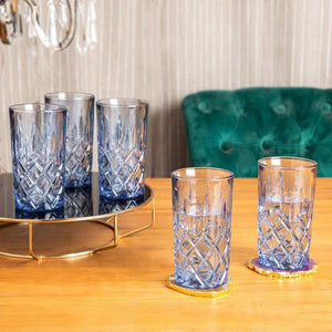 Dinah Blue Set Of 6 Glasses 320 Ml