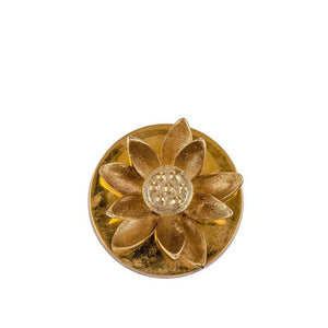 Lotus Golden Votive Lid With Candle