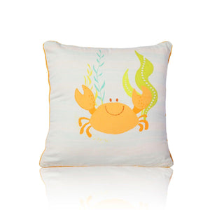 Crab 18 In X 18 In Mustard Cushion Cover