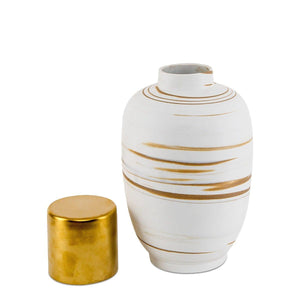 Blanco Dorado White And Gold Storage Jar Large