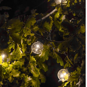 Guirlande lumineuse solaire 10 globes transparents LED blanc chaud PARTY CLEAR SOLAR 5.90m 8 modes - REDDECO.com