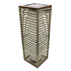 Lampe solaire décorative poly rotin taupe LED blanc STRIPY H44cm - REDDECO.com