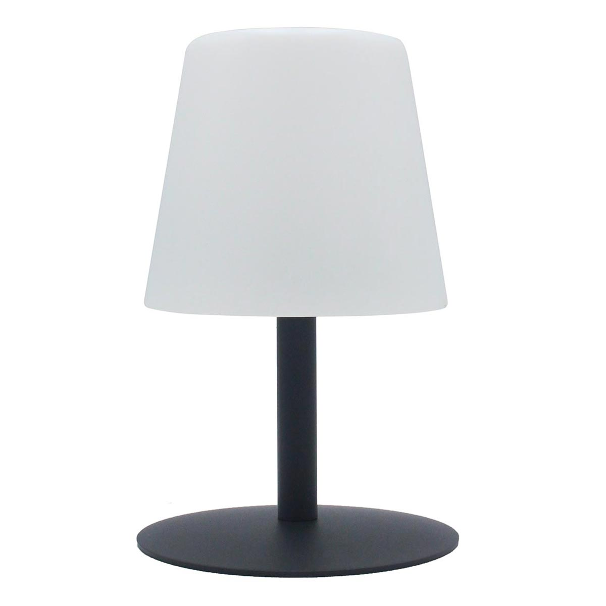 Lampe de table sans fil pied en acier gris LED blanc chaud/blanc dimmable STANDY MINI Rock H25cm - REDDECO.com