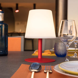 Lampe de table sans fil pied en acier rouge LED blanc chaud/blanc dimmable STANDY MINI Love H25cm - REDDECO.com