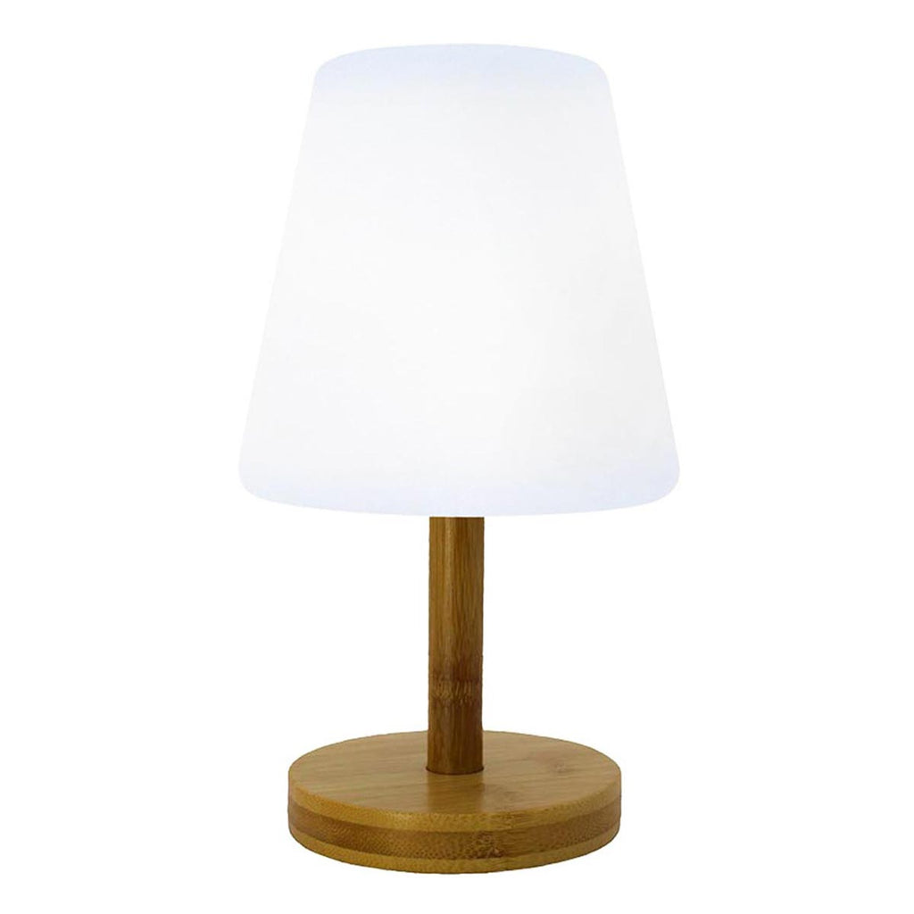 Lampe de table sans fil pied en bambou naturel LED blanc chaud/blanc dimmable STANDY MINI WOOD H25cm - REDDECO.com