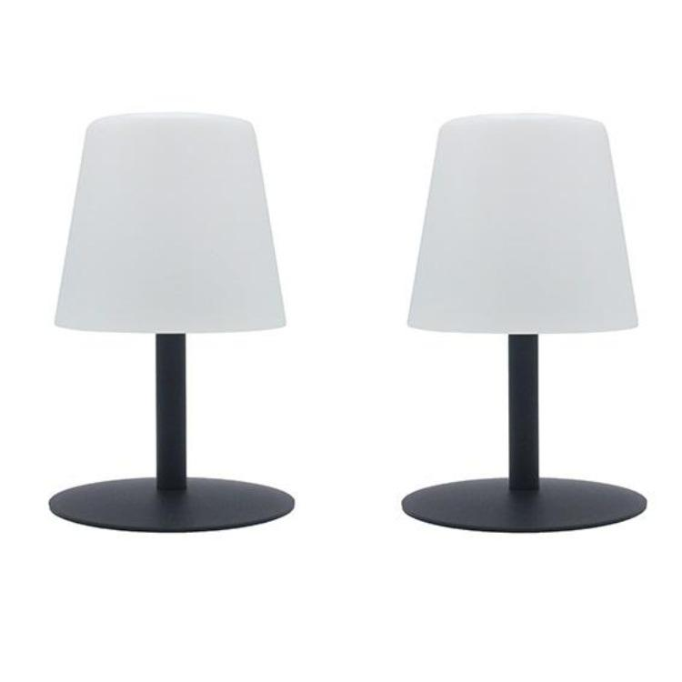 Lot de 2 Lampe de table sans fil pied en acier gris LED blanc chaud/blanc dimmable STANDY MINI Rock H25cm - REDDECO.com