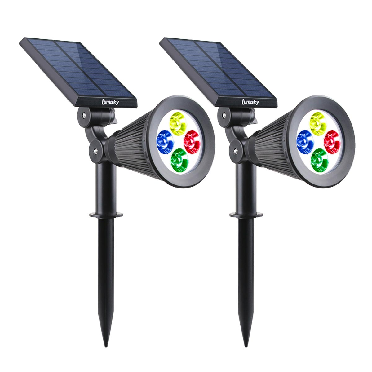 Lot de 2 spots solaires projecteur 2 en 1 à piquer ou à fixer dimmable LED multicolore SPIKY C34 H42cm - REDDECO.com