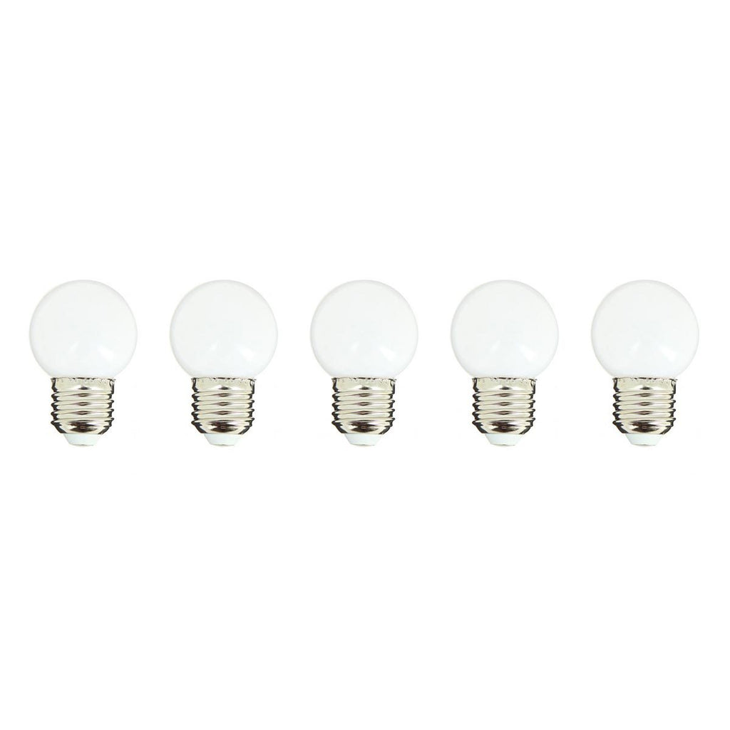 Lot de 5 ampoules LED E27 blanc globe compatible guirlande PARTY BULB WHITE H7cm - REDDECO.com
