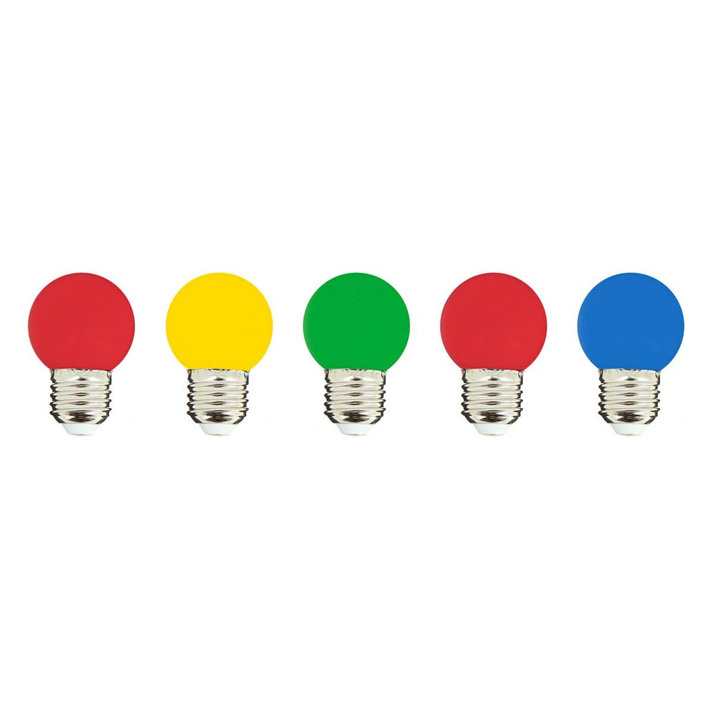 Lot de 5 ampoules LED E27 multicolore globe compatible guirlande PARTY BULB COLOR H7cm - REDDECO.com