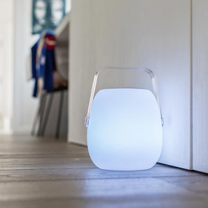 Mini baladeuse enceinte bluetooth sans fil LED blanc/multicolore dimmable MINI SO PLAY H25cm avec télécommande - REDDECO.com