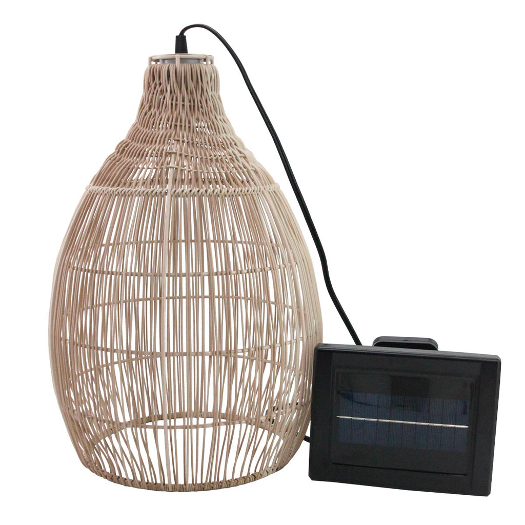 Suspension solaire bohème naturel style vannerie tressée LED blanc chaud HOLIDAY H42cm - REDDECO.com