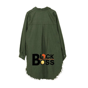 Women Black Boss Denim Shirt Dress