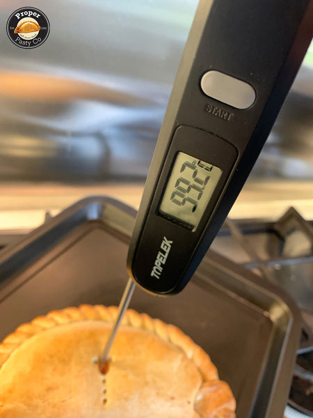 Check pasty temperature before removing from oven