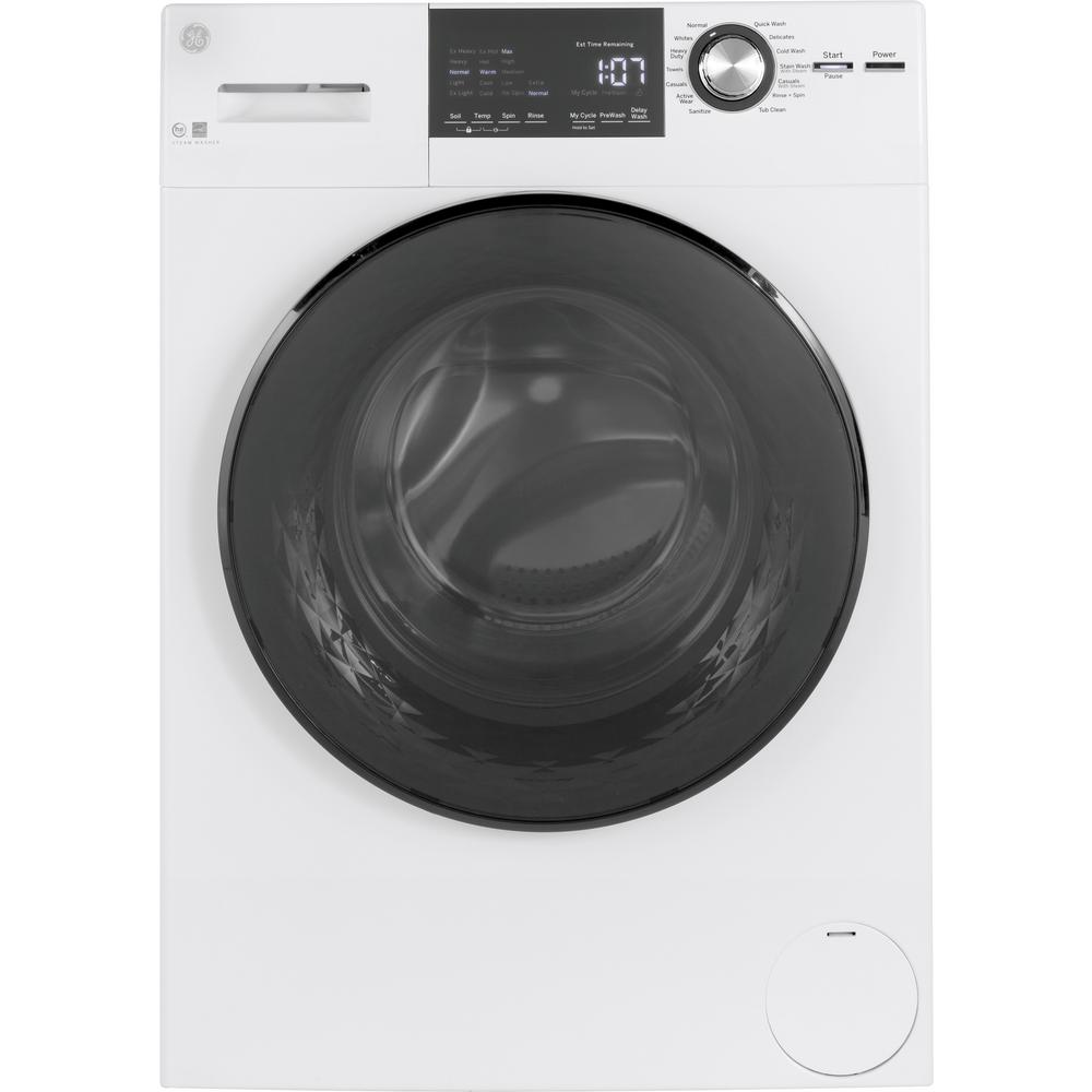 GE - 2.4Cu. Ft. Front Load Washer with Steam - GFW148SSMWW