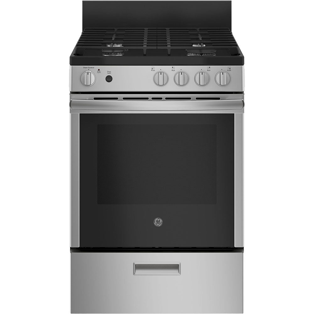 GE - 24 Inches Gas Freestanding Range with Removable Storage Drawer - JCGAS640RMSS
