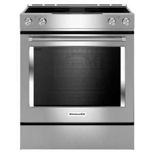 KitchenAid - 30-Inch 4-Element Electric Downdraft Front Control Range - KSEG950ESS