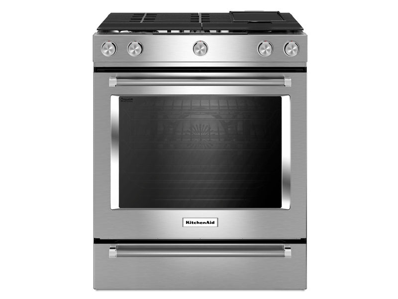 KitchenAid - 30-Inch 5-Burner Dual Fuel Convection Front Control Range with Baking Drawer - YKSDB900ESS
