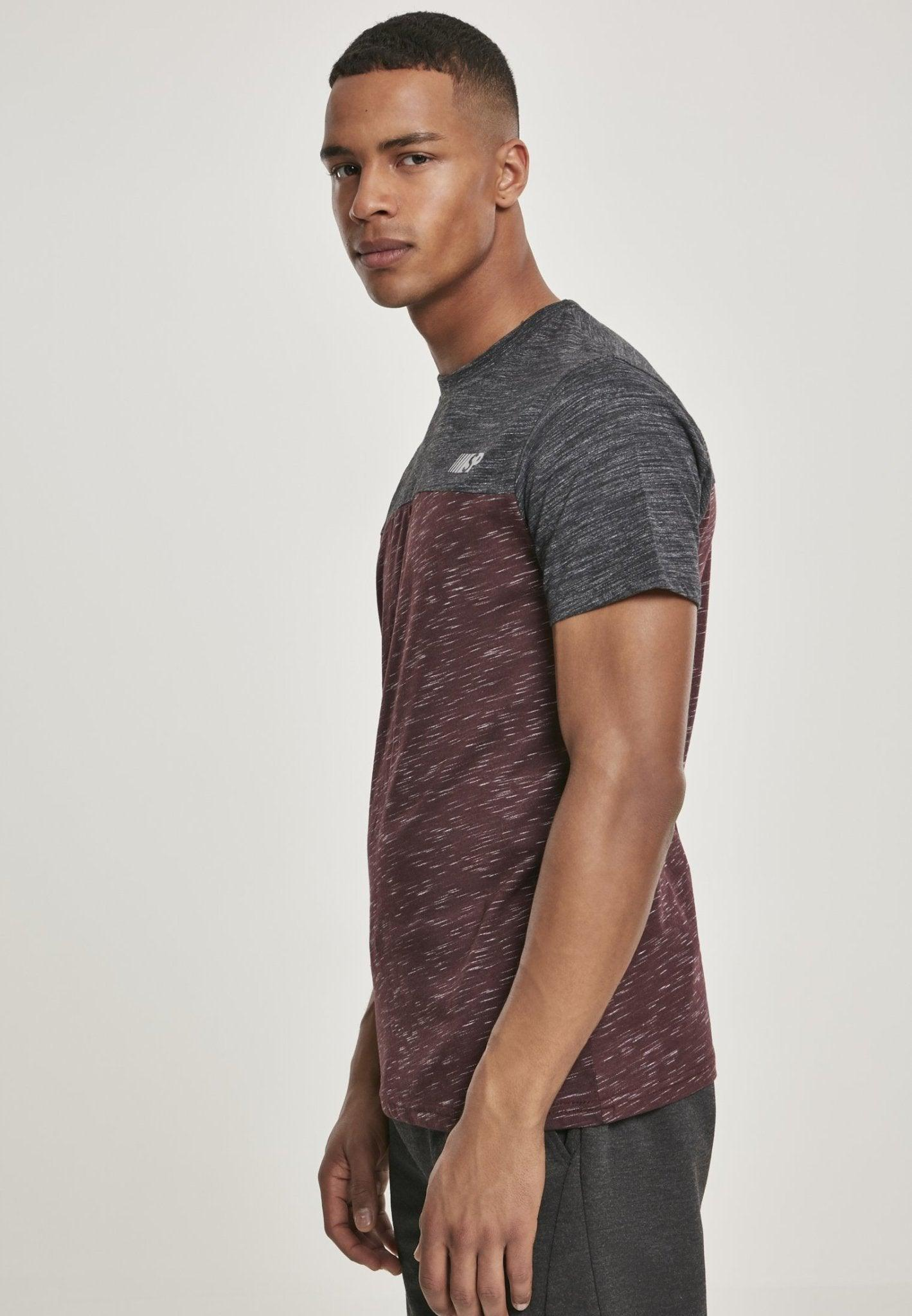 Color Block Tech Tee Marled Burgundy - Inexorebel