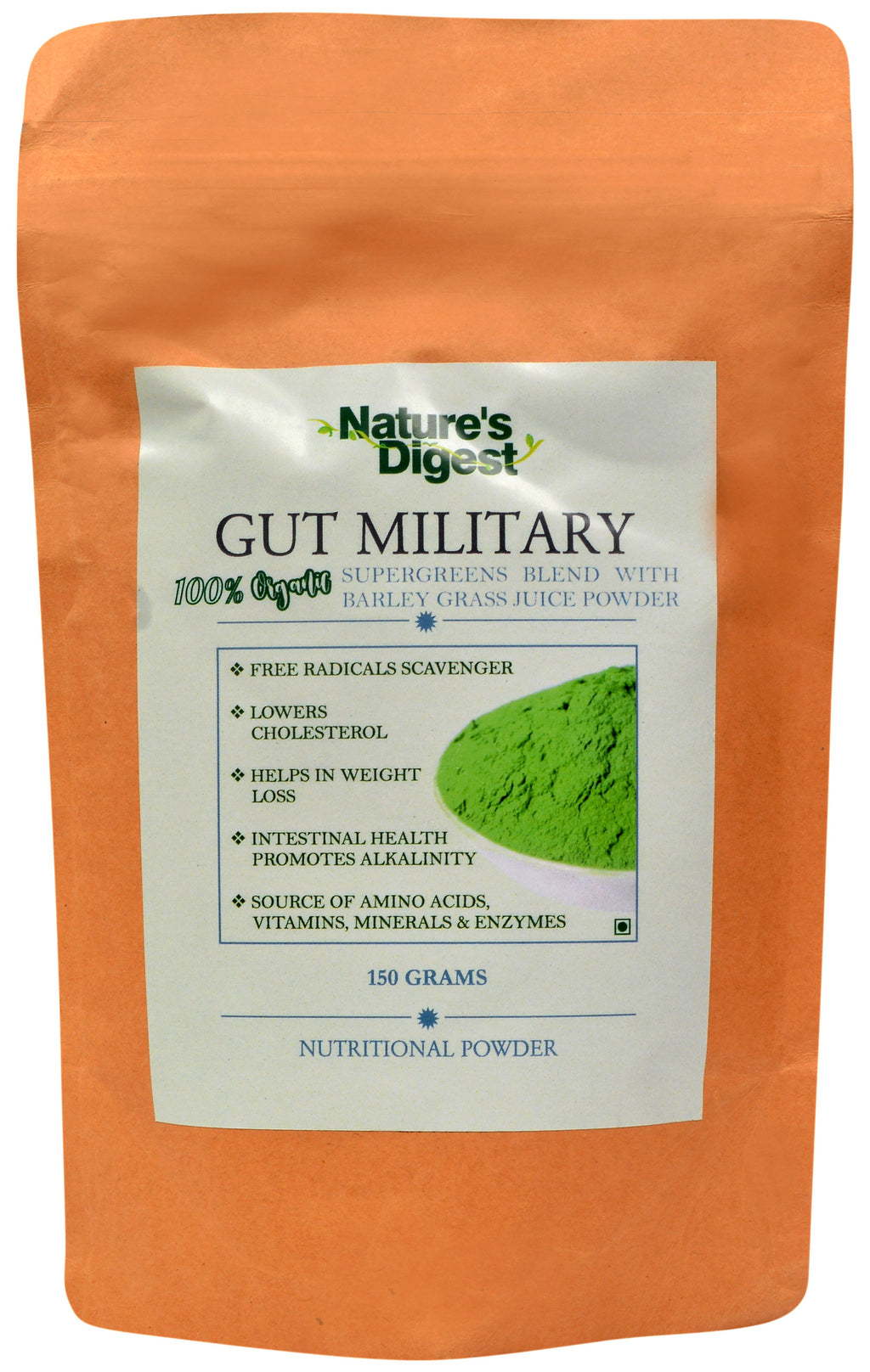 Gut Military 100% Organic Supergreens Blend with Barley Grass