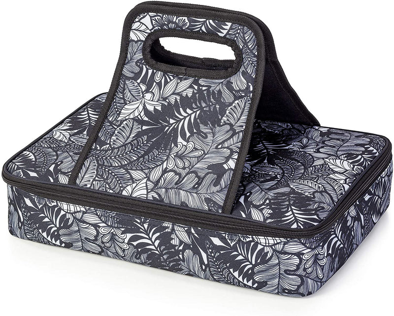 Black and White Tropical Casserole Travel Bag
