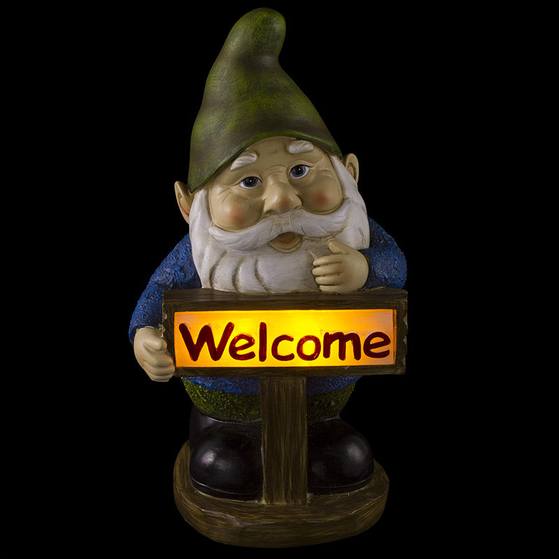 Welcome Gnome Solar Powered Outdoor LED Garden Light