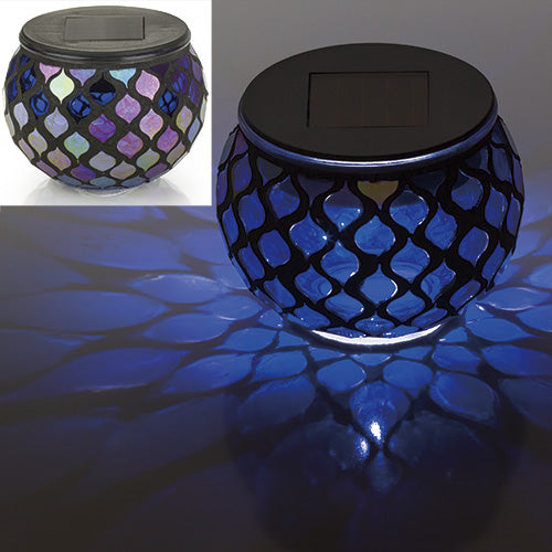 Iridescent Blue Mosaic Glass LED Outdoor Decor Decorative Table Light