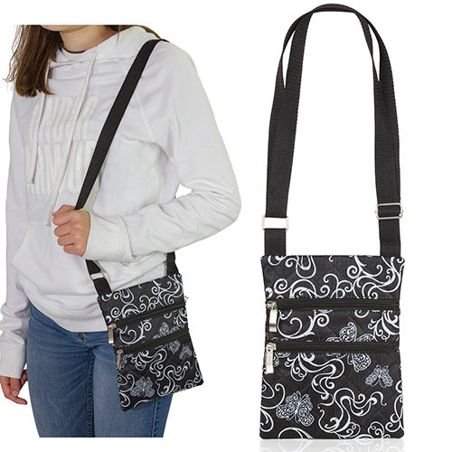 Butterfly Swirl Quilted Cross Body Bag with Adjustable Strap