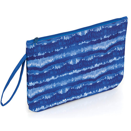 Tie-Dye Denim Stripe Zipper Pouch Bag with Wrist Strap