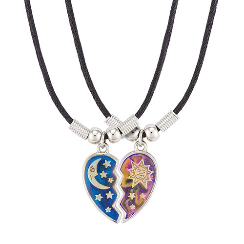 Sun and Moon Heart Mood Necklace Set