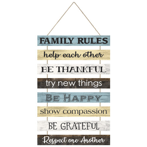 """Family Rules"" Hanging Wall Plaque"