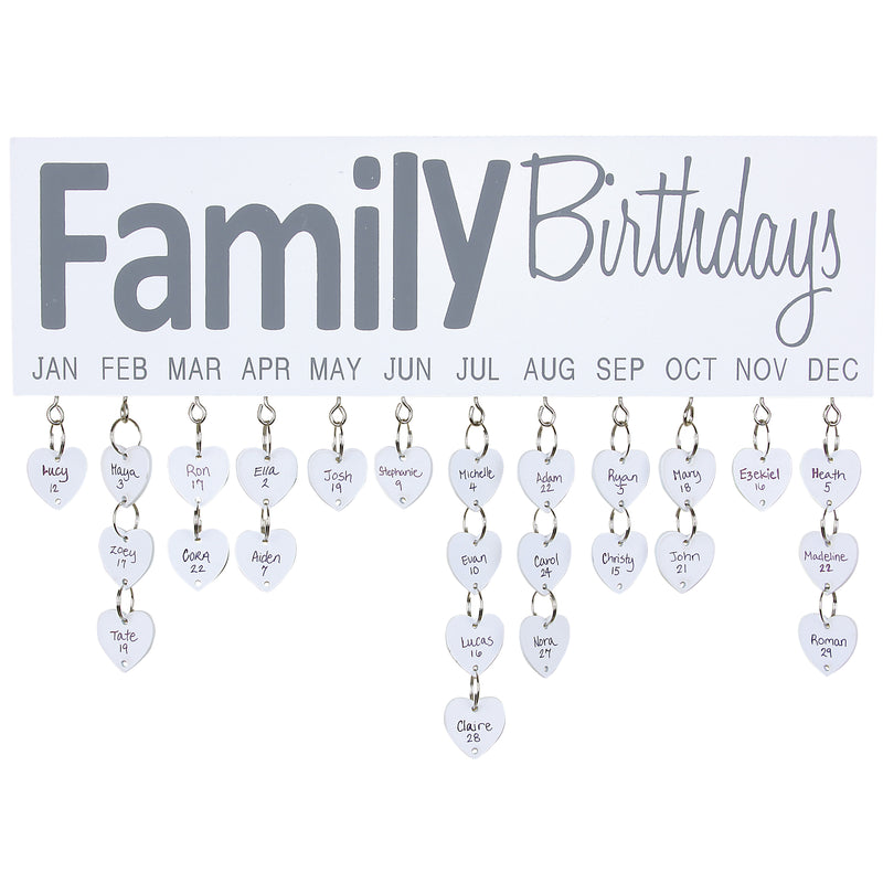Family Birthdays Wall Plaque