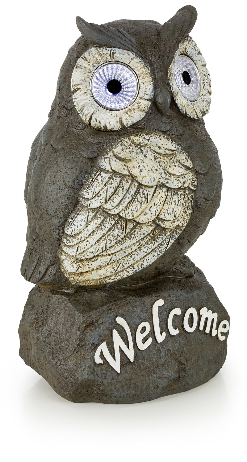 Welcome Owl Solar Powered Outdoor Decor LED Garden Light