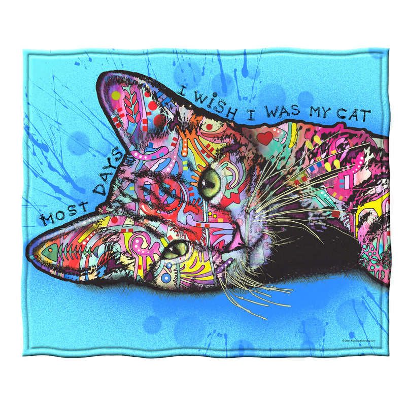 Wish I was my Cat Fleece Throw Blanket by Dean Russo
