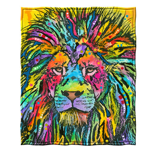 Lion Fleece Throw Blanket by Dean Russo