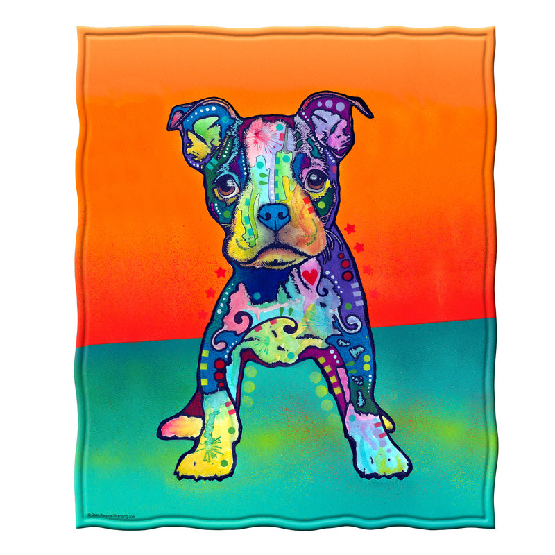 On My Own Puppy Fleece Throw Blanket by Dean Russo