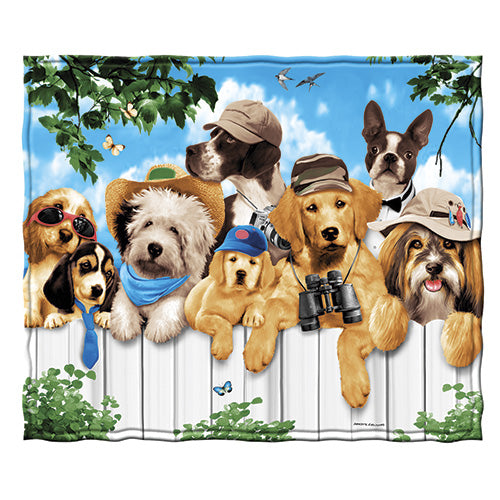 Dogs Outdoor Guys Fleece Throw Blanket