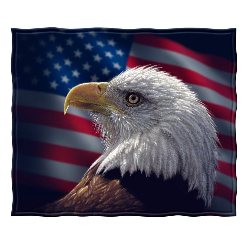 Bald Eagle Portrait Fleece Throw Blanket