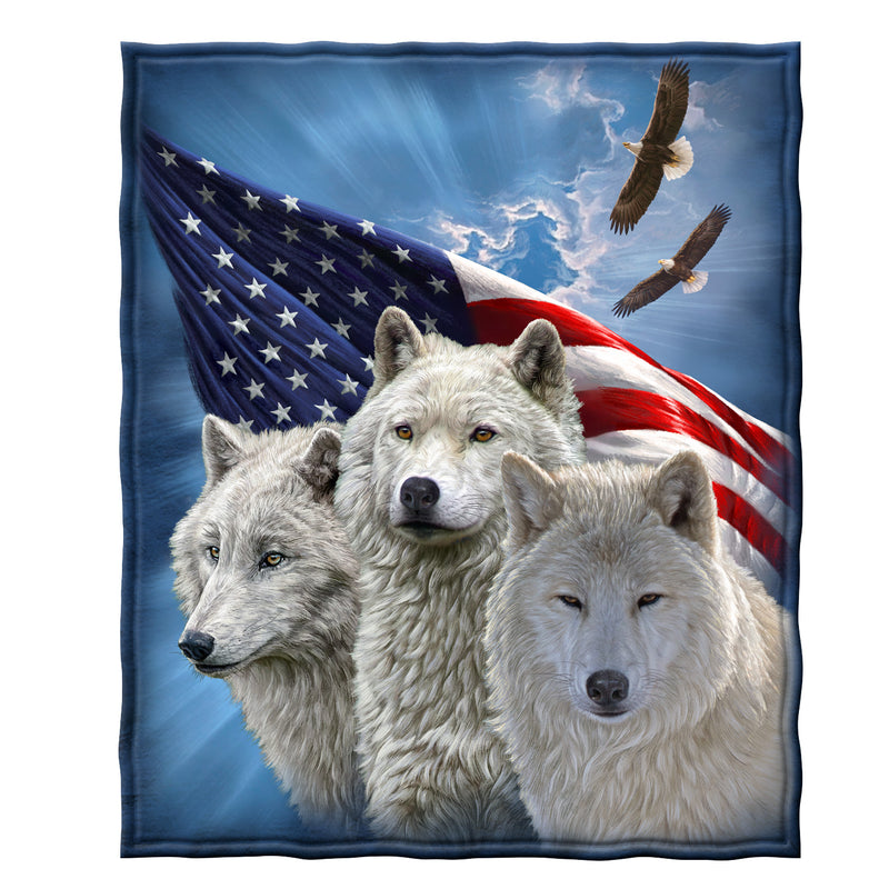 Wolves and Eagles - Honoring Our Heroes Fleece Throw Blanket