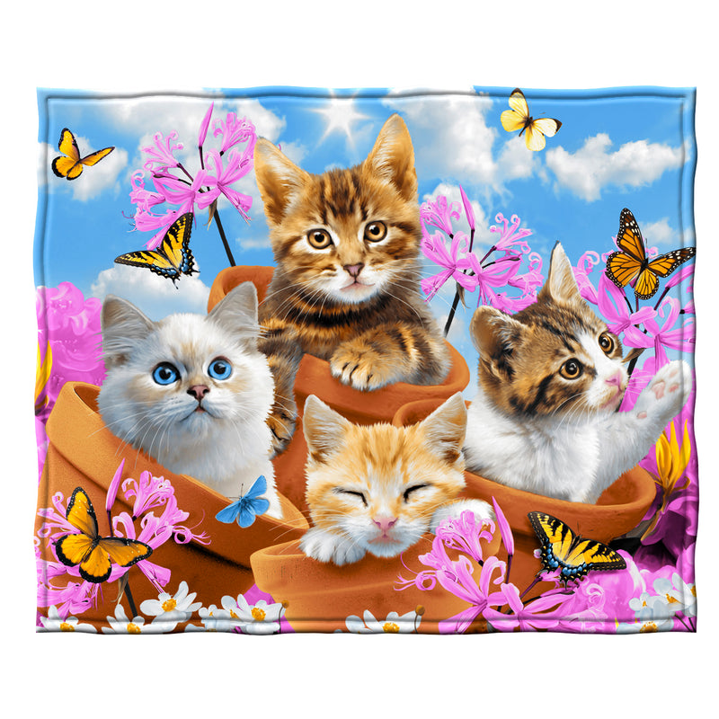 Garden Wonder Kittens  Fleece Throw Blanket