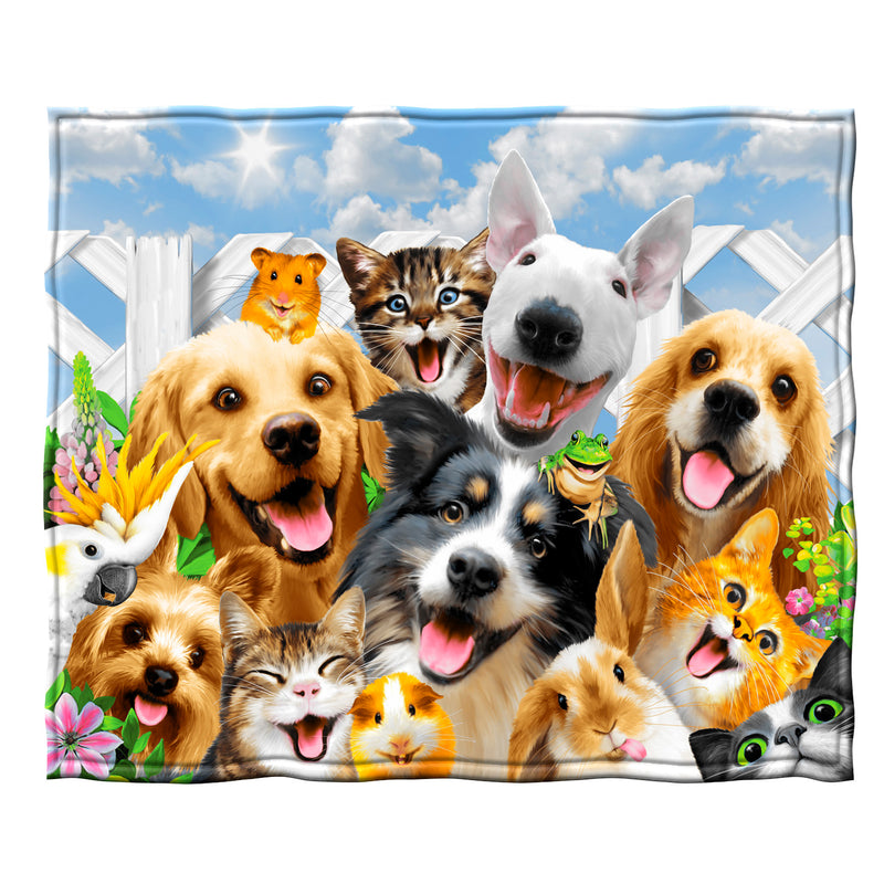Backyard Pals Dogs and Cats Fleece Throw Blanket