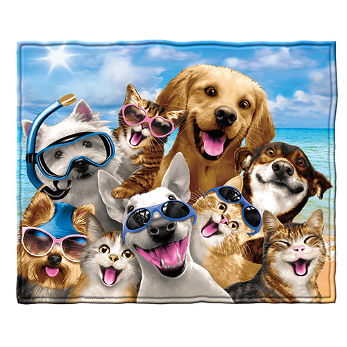 Dogs and Cats Beach Party Fleece Throw Blanket