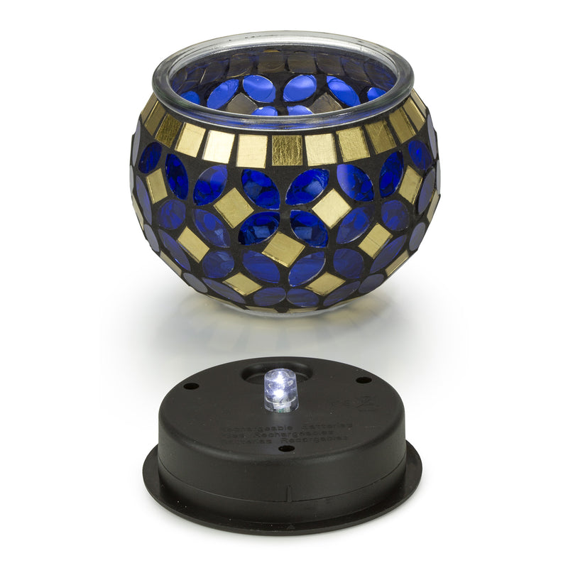 Blue and Gold Mosaic Glass LED Outdoor Decor Decorative Table Light