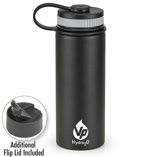 VP Hydro2O Black  Stainless Steel Water Bottle